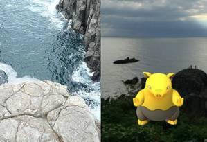 Por ser uma Pokéstop, o rochedo Tojinbo é bastante procurado por usuários do jogo Foto: Twitter/Reprodução