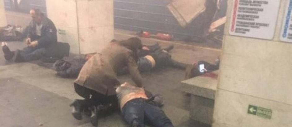 Vítimas de explosão no metrô de São Petersburgo, na Rússia Foto: Reprodução/Twitter