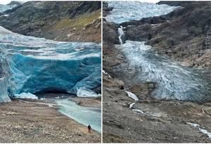 Glaciar Trift, na Suíça, em fotos de 2006 e 2015 Foto: Divulgação