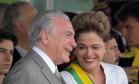 A então presidente Dilma Rousseff e o então vice Michel Temer no Desfile de Sete de Setembro, em Brasília Foto: Agência O Globo/ 07-09-2015 / Ailton de Freitas