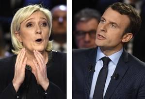 Le Pen e Macron trocaram acusações em debate aberto Foto: Montagem / AFP / AFP