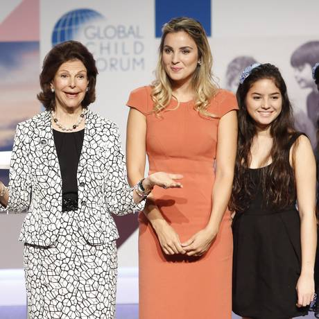 Rainha da Suécia e a primeira-dama Marcela Temer durante o evento Foto: Edilson Dantas / Agência O Globo