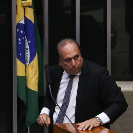 Luiz Fernando Pezão no plenário da Câmara dos Deputados Foto: Andre Coelho / Agência O Globo
