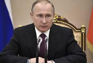 O presidente russo Vladimir Putin em encontro com o Conselho de Segurança em Moscou Foto: Alexei Nikolsky / AP