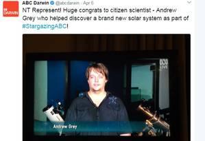 Tuíte postado pelo canal ABC comemora a descoberta de Andrew Foto: Reprodução / Twitter