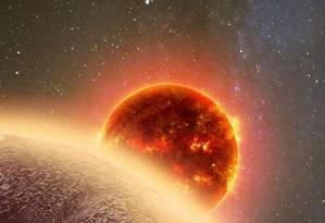 Ilustração mostra a atmosfera da superterra GJ 1132b, formada provavelmente por vapor d'água e/ou metano Foto: Dana Berry