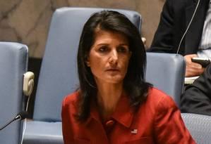 A embaixadora dos EUA na ONU, Nikki Haley, em encontro do Conselho de Segurança Foto: STEPHANIE KEITH / REUTERS
