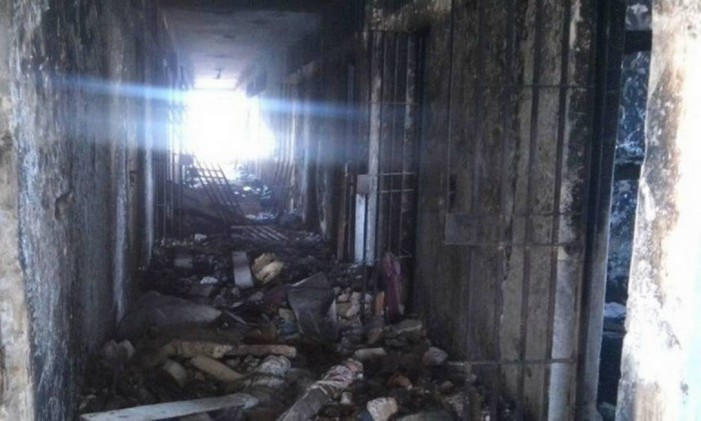 Pavilhão B da Penitenciária Estadual Ênio dos Santos Pinheiro incendiado Foto: Copen/Divulgação