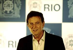 O prefeito Marcelo Crivella durante anúncio das realizações de 100 dias do seu governo Foto: Gabriel de Paiva / Agência O Globo