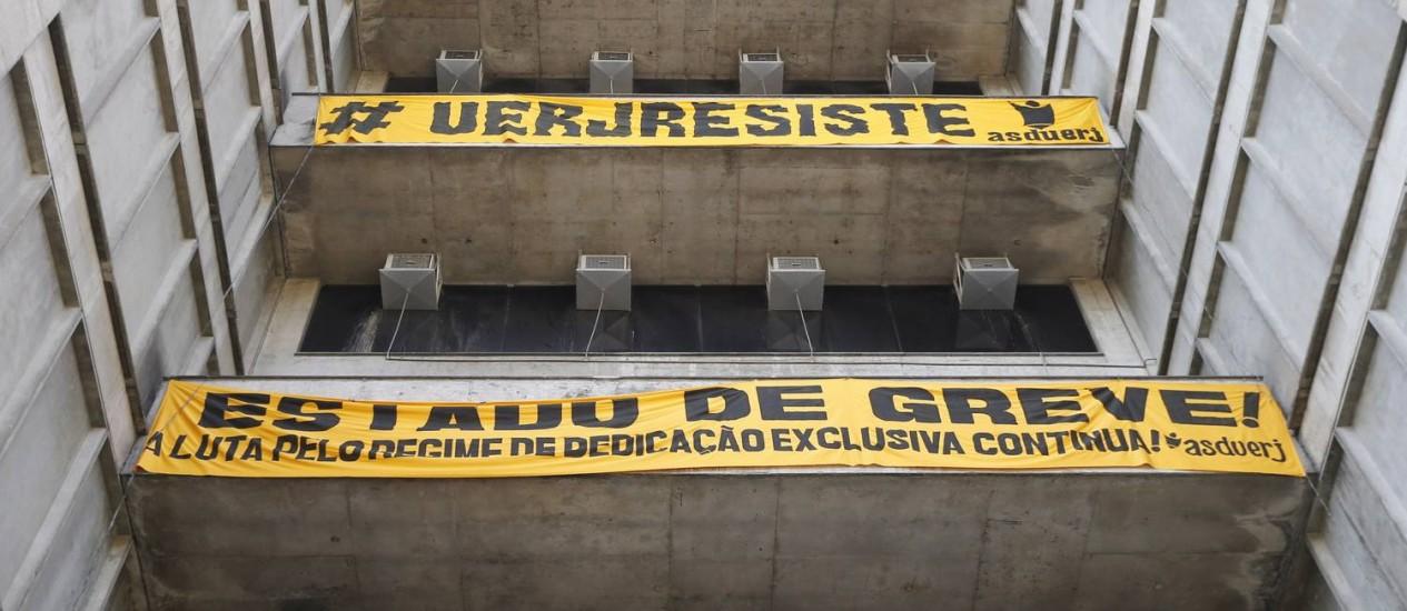 Em agosto, a Uerj entrou em estado de greve Foto: Domingos Peixoto - 29/08/2016 / Agência O Globo