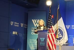 A presidente do STF, Cármen Lúcia, dá palestra no Brazil Institute, do Wilson Center, em Washington Foto: Divulgação