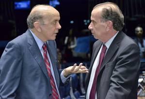 José Serra, à esquerda, e Aloysio Nunes, são investigados pelo STF Foto: Divulgação Senado Federal