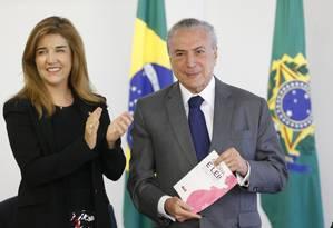 Presidente Michel Temer em evento em homenagem às mulheres em cerimônia no Palácio do Planalto Foto: Ailton Freitas / Ailton Freitas
