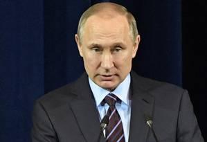 Presidente russo, Vladimir Putin, no Palácio do Kremlin, em Moscou Foto: Alexei Nikolsky / AP