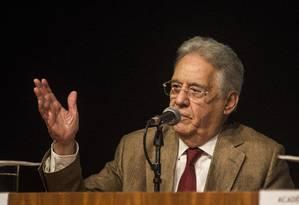 O ex-presidente Fernando Henrique Cardoso dá palestra sobre políticas sobre drogas e a crise carcerária no Brasil Foto: Guito Moreto / Agência O Globo