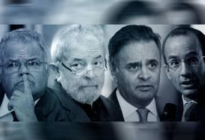 Emilio Odebrecht, Lula, Aécio e Marcelo Odebrecht Foto: Editoria de Arte