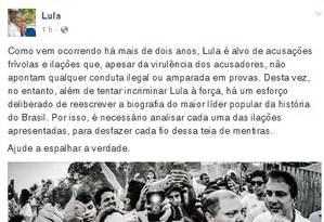 Lula se defendeu nas redes sociais Foto: Reprodução Facebook