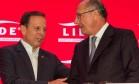 O Governador Geraldo Alckmin e o prefeito João Doria em almço-debate do Lide, em março deste ano Foto: Parceiro / Agência O Globo