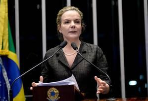 Gleisi chama Dória de cara de pau e diz que em 2018 estará ao lado de Lula Foto: Agência Senado