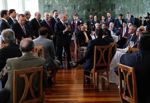 O presidente Michel Temer durante café da manhã com deputados da base aliada Foto: Divlugação/Presidência da República