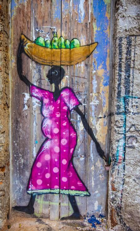 Pintura urbana relembra mistura de influências no Maranhão: negros, índios e europeus fazem parte de sua História. Foto: Elisa Martins / Elisa Martins