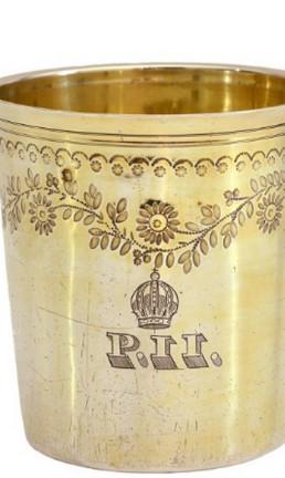 Copo em prata francesa usado por Dom Pedro II Foto: Reprodução