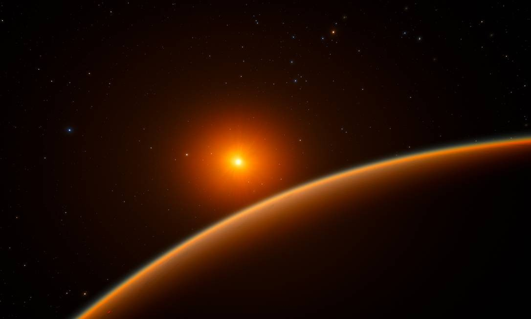 Ilustração mostra a borda do exoplaneta LHS 1140b com sua estrela ao fundo: por enquanto, ele é melhor alvo para procurar por sinais de vida em sistemas planetários distantes Foto: ESO/spaceengine.org