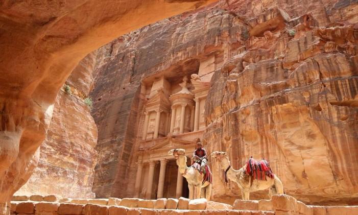 Ruínas de Petra, na Jordânia Foto: Khalil Mazraawi / AFP