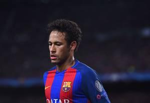 Neymar anunciou sua saída do Barcelona nesta quarta-feira Foto: JOSEP LAGO / AFP