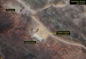 Imagens de satélite mostram suposto jogo de volêi em base onde Coreia do Norte conduz testes nucleares Foto: Reprodução
