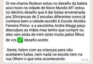 Robson Silvério dos Anjos, de 24 anos, foi preso por ter enviado ameaça a crianças da cidade de Novo Mundo, no Mato Grosso Foto: WhatsApp/Reprodução