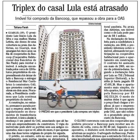 A primeira reportagem que liga o ex-presidente ao tríplex foi publicada em 10 de março de 2010 no GLOBO Foto: Reprodução