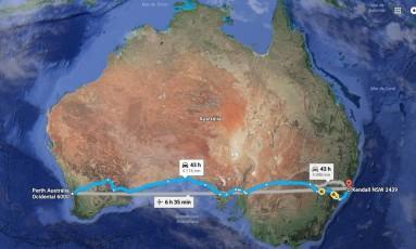 Adolescente pretendia cruzar a Austrália dirigindo um carro Foto: GOOGLE MAPS