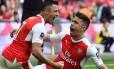 Sánchez comemora seu gol Foto: Glyn Kirk / AFP