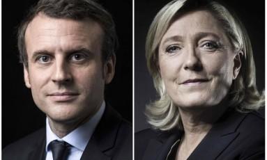 Montagem de fotos mostra os dois candidatos presidenciais franceses Emmanuel Macron e Marine Le Pen Foto: JOEL SAGET / AFP