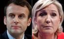 Os candidatos que vão disputar o segundo turno das eleições francesas: Emmanuel Macron, do movimento Em Marcha!, e Marine Le Pen, da Frente Nacional (FN) Foto: CHRISTIAN HARTMANN / REUTERS