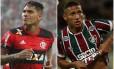 Guerrero e Richarlison: Fla-Flu pela artilharia do Carioca Foto: Fotos de divulgação de Flamengo e Fluminense