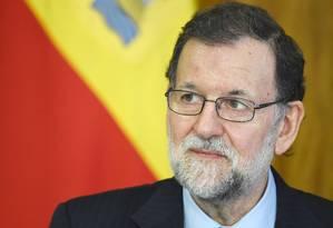 O presidente do governo da Espanha, Mariano Rajoy, participa de uma coletiva de imprensa com o presidente do Brasil, Michel Temer no Palácio do Planalto, em Brasília Foto: EVARISTO SA / AFP