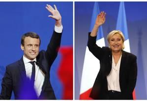 Montagem coloca lado a lado Emmanuel Macron e Marine Le Pen Foto: Christophe Ena / Bob Edme / AP