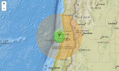 Terremoto registrou epicentro nos arredores de Valparaiso Foto: Reprodução/USGS