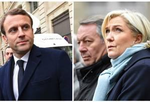 Montagem coloca Macron e Le Pen lado a lado; candidatos participavam de homenagem a policial morto em atentado a Paris Foto: AFP