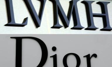 Combinação das logomarcas do grupo de luxo LVMH e da marca Christian Dior. Foto: Martin Bureau e Patrick Kovarik/AFP
