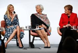 Ivanka Trump, Christine Lagarde e Angela Merkel se sentam lado a lado para debater empoderamento econômico feminino em Berlim Foto: ODD ANDERSEN / AFP
