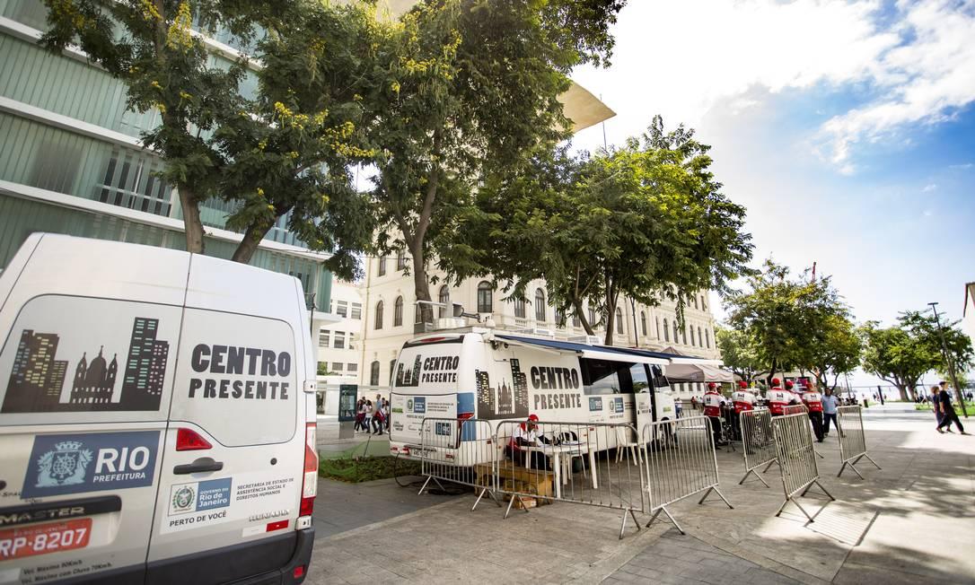 Posto do Centro Presente, na Praça Mauá: projeto em risco Foto: Ana Branco / Agência O Globo