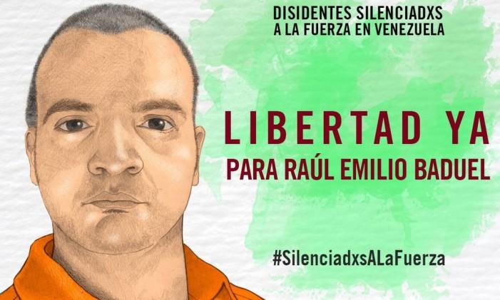 Raúl Emilio Baduel foi rpeso enquanto estava sentado no chão durante protesto Foto: Anistia Internacional
