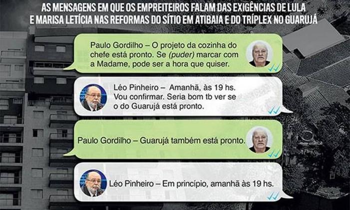 """Mensagens trocadas entre Léo Pinheiro e Paulo Gordilho reveladas por """"Veja"""" Foto: Reprodução"""