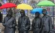 Beatles. Estátua dos integrantes do grupo em Liverpool, cidade onde a banda surgiu