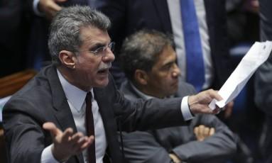 Senador Romero Jucá em sessão no Senado. Foto Ailton de Freitas/ Agência O Globo.
