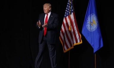Presidente Donald Trump chega à ANR para discursar em Atlanta, EUA Foto: Evan Vucci / AP