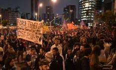 Manifestantes protestam em São Paulo contra reformas trabalhista e da Previdência Foto: NELSON ALMEIDA / AFP